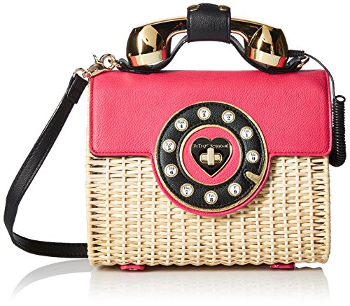 Featuring a wicker body and a bright magenta flap, the phone bag is the perfect addition to any Summer outfit A twenty-four inch drop chain is perfect for shoulder and crossbody wear