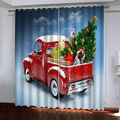 ANAZOZ 2 Cortinas Dormitorio Opaca Cortina Salon Poliester Coche con Árbol de Navidad y Regalos Azul Rojo Verde Blanco Cortina para Dormitorio Tamaño 264x274CM