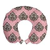 ABAKUHAUS Damasco de Color Rosa Cojín de Viaje para Soporte de Cuello, Modernizado Arte rococó, de Espuma con Memoria Respirable y Cómoda, 30x30 cm, Rosa pálido Amarillento