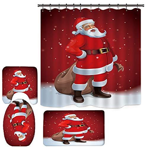 Panarciss 4PCS 3D Digital Printed Shower Set Christmas Santa Claus Curtain Bathroom Shower Curtain Floor Mat Rug Base Toilet