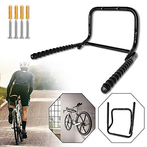 Hengmei Soporte de pared plegable para bicicleta, ahorra espacio, con marco protector para bicicletas, garaje Negro