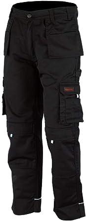 WrightFits Men Pro-11 Work Trousers Black, Grey & Khaki - Heavy Duty Safety Combat Cargo Pant - Multi Pockets & Knee Pad Pockets - Triple Stitched -Durable Work wear