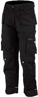 WrightFits Men Pro-11 Work Trousers Black, Grey & Khaki - Heavy Duty Safety Combat Cargo Pant - Multi Pockets & Knee Pad P...