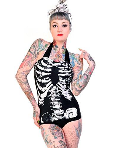 Banned Damen Rockabilly Neckholder Badeanzug - Rosen und Schädel Tattoo 50er Jahre Retro Swimsuit (XS)
