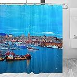 Italia Old Harbour Génova cortina de ducha viaje baño decoración conjunto con ganchos poliéster 72x72 pulgadas (YL-03185)
