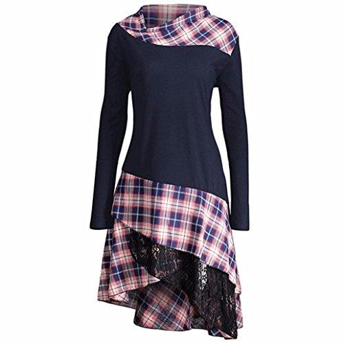 OVERDOSE Damen Elegant Langarm Kariertes T-Shirt Kleider Blusen Kleider Casual Spitze Patchwork Partykleider Blusenkleid(A-Navy,EU-44/CN-2XL)