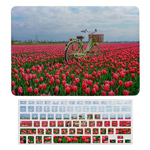 Carcasa rígida para MacBook The Most Charming Tulip Fields de plástico con diseño de campos de tulipanes y teclado solo compatible con MacBook Air 13 (modelos A1369 y A1466)