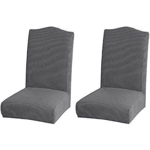 Basage Funda elástica para silla de hotel, restaurante o casa, color sólido, impermeable, de forro polar (2, gris claro)