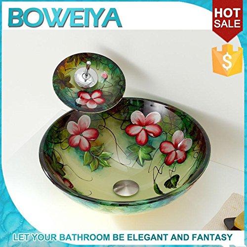 AllureFeng Art grün runden Glaswaschbecken/gehärtetes Glas zeitgenössischen Waschbecken gesetzt (T12mm * F420mm * H145mm)
