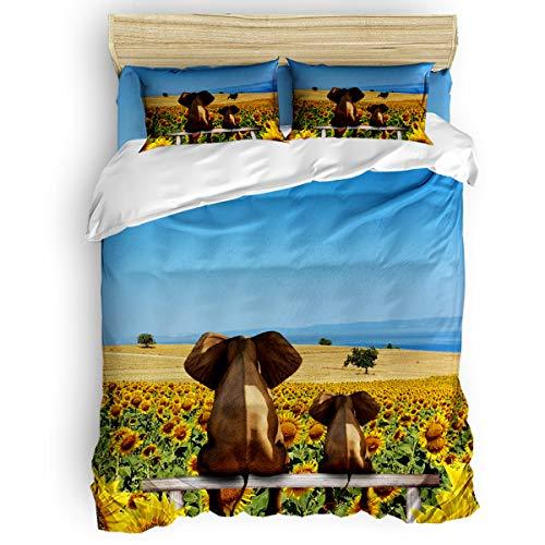 beautiful sunflower field bedding set