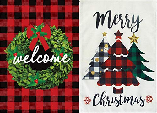 YHmall 2 Pcs Welcome Merry Christmas Garden Flag Double Sided Christmas Tree and Garland Yard Home Decorations Flags 12.5 x18