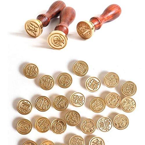 Retro hout klassieke 24 brief alfabet eerste zegel stempel Post decoratieve Vintage DIY handvat Brass hoofd huwelijksuitnodiging, C
