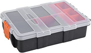 Components Storage Box, Plastic Waterproof Heavy-duty Components Small Parts Tool Two-layer Storage Box Case Organizer with Clear Plastic Lids for Home
