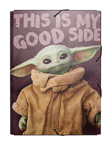 Erik® - Cartella portadocumenti A4 con chiusura elastica angolare, tre lembi, cartone - The Mandalorian, Baby Yoda