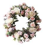 Forart Couronne de fleur de pivoine artificielle de 14 pouces Couronne de porte de fleur artificielle Couronne de printemps Fleurs de rose artificielles décoration intérieure