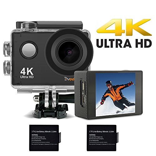 DveeTech Action Camera,4K 16MP Built-in WiFi Underwater Photography Sports Camera,170 Degree Wide Angle Waterproof Camera for Diving,Ski,Biking,Snorkeling