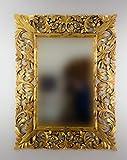 Rococo Espejo Decorativo de Madera Renaisance de 120x90 en Oro (Envejecido)