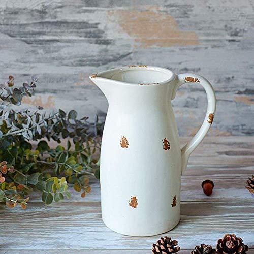 Jarra de agua de cerámica blanca Jarra de jardín de cerámica antigua Jarra de flores Interior Adecuado para servir agua fría Café Leche y jugo Barra de bebidas Jarra,Adecuado para agua fría y