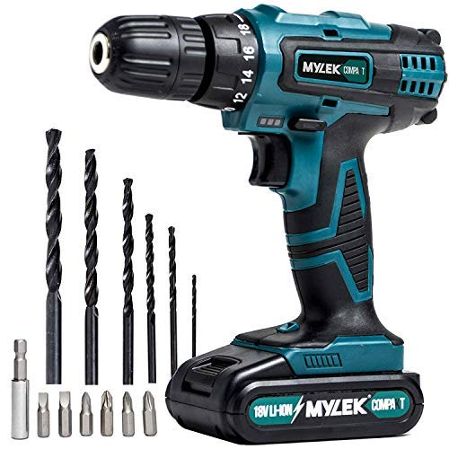 MYLEK MY18VCB 18V Cordless Driver-Lithium Ion Drill Set-13 Piece Combi Accessory Kit-LED Worklight,...