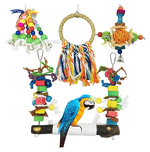 M3 Decorium Bird Parrot Toys 4 PCS Hanging Bell Pet Bird Cage Hammock Swing Toy Wooden Chewing Toy for Conures Love Birds Small