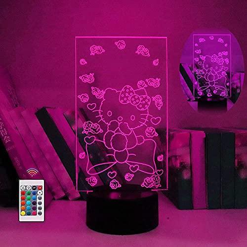 Hello Kitty Anime 3D Night Light USB Lámpara de mesa LED Night Light Colorful Gradient Touch Control remoto Único Decoración creativa Juguete de cumpleaños Regalo 3-9 + años Niños y niñas