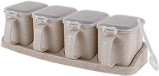 SMEJS Condiment conteneurs avec Couvercle et cuillère, Jars Spice Sucrier Boîte de Rangement sel Pot Assaisonnement Conten...