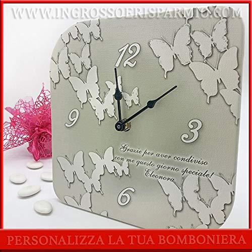 Quadratische Uhr aus Kunstleder mit Schmetterlingen, personalisierbar mit mindestens 10 Stück, Gastgeschenke zur Taufe, Kommunion, inklusive Geschenkbox (30 x 30 cm, mit hellblauer Verpackung)