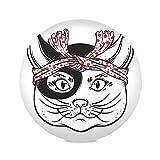 Zemivs Set di 4 tovagliette Rotonde Lavabili Gatto amuleto Tatuaggio Cucina Tappetino da caffè Ragazza tovagliette da 15,4 Pollici Facile da Pulire per Cucina Tavolo da Pranzo Festa