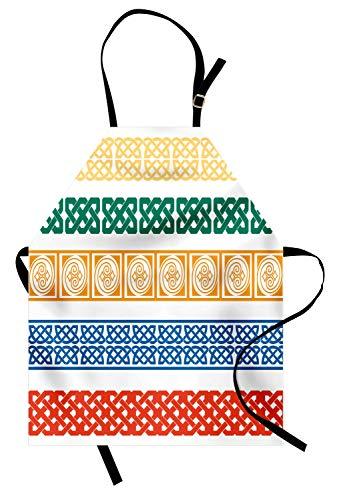 ABAKUHAUS Ethnisch Kochschürze, Verschiedene Art Farbe Fliesen Griechische Kultur Folk Vintage Grid Zusammenfassung Abbildung Artsy Bild, Höhenverstellbar Klare Farben ohne verblassen, Grün Orange