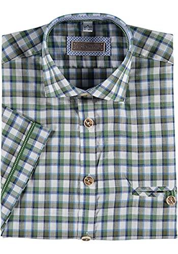 OS Trachten Herren Hemd Kurzarm Trachtenhemd mit Liegekragen Rarco, Größe:45/46, Farbe:trachtengrün