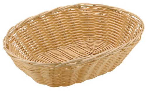 Paderno World Cuisine 6-Inch Diameter by 9-Inch Long Oval Polyrattan Bread Basket