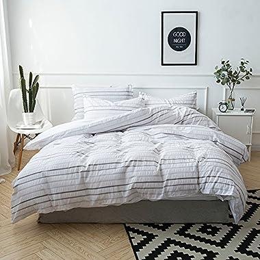 Merryfeel 100% cotton yarn dyed Seersucker Duvet Cover Set - King Grey
