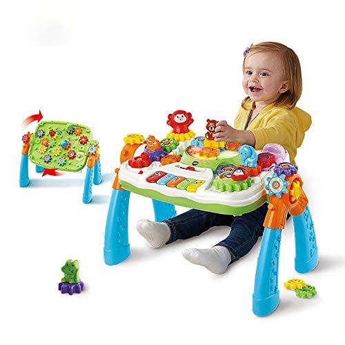 ZIXERN Jeux Deveil Bebe Apprentissage Table Assemblé Toy Game Gear Tableau 1-3 Ans Jouet éducatif pour Tout-Petits Enfants de l'éducation préscolair (Color : Multi-Colored, Size : 54.2x32x39.8cm)