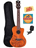 Luna Tattoo Mahogany Acoustic-Electric Concert Ukulele Bundle with Gig Bag, Tuner, Austin Bazaar Instructional DVD, and Polishing Cloth