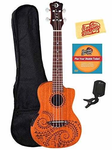 Luna Guitars Tattoo Spruce Concert Ukulele Bundle with Gig Bag, Tuner, Austin Bazaar Instructional DVD and Polishing Cloth