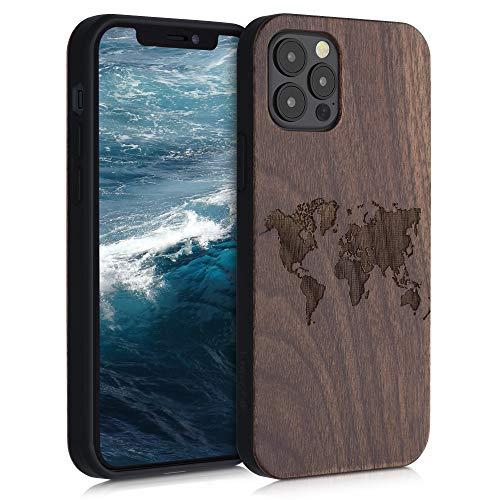 kwmobile Hülle kompatibel mit Apple iPhone 12/12 Pro - Handyhülle Holz TPU Cover - Travel Umriss Dunkelbraun