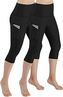 ODODOS Women's High Waist Yoga Capris with Pockets,Tummy Control,Workout Capris Running 4 Way Stretch Yoga Leggings with Pockets,Black2Pack,Medium