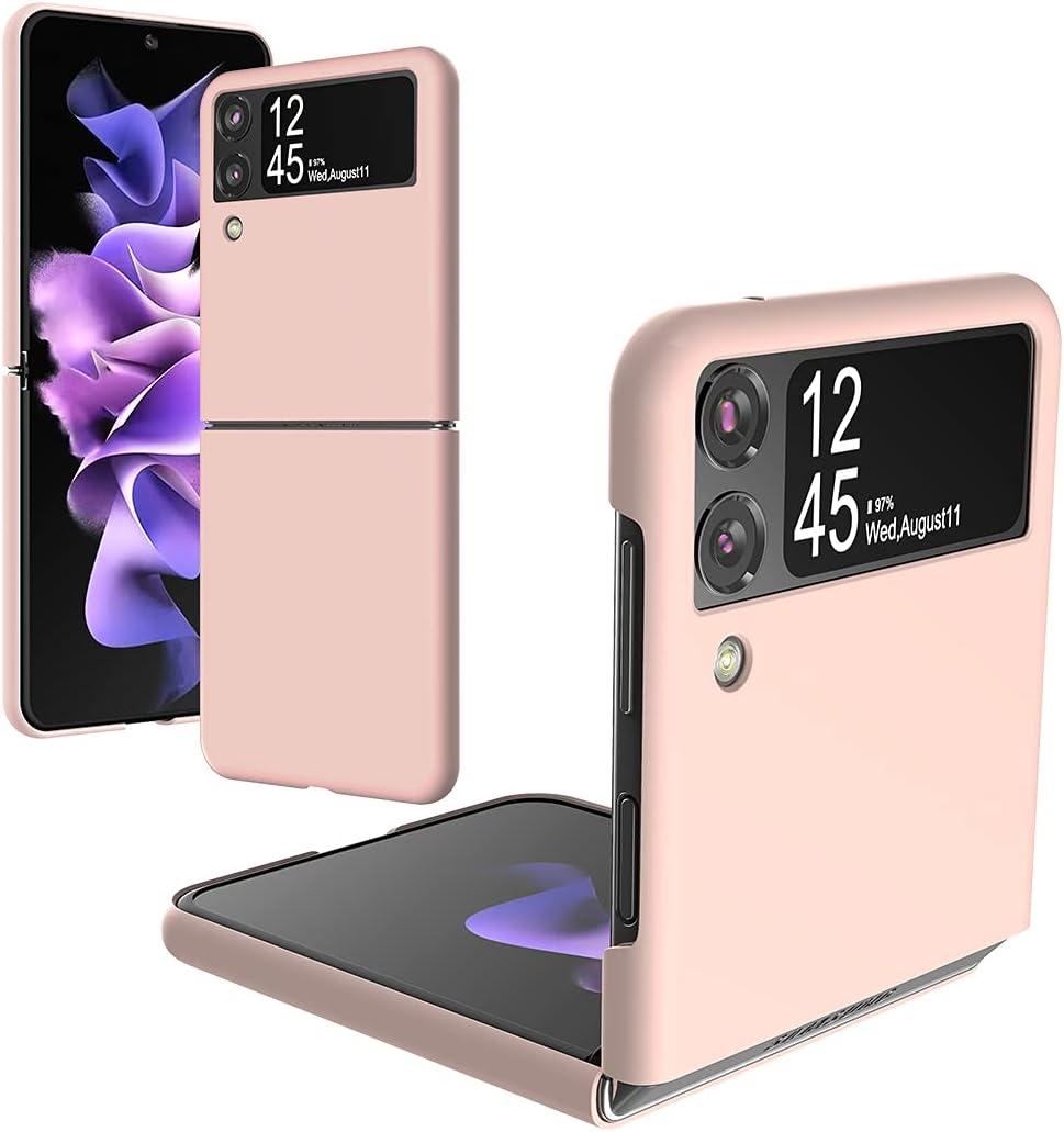 Foluu Galaxy Z Flip 3 Case, for Samsung Galaxy Z Flip 3 Slim Phone Case, Premium Thin Full Protection Hard PC with Non-Slip Grip Protective Cover for Samsung Galaxy Z Flip 3 5G 2021 (Pink)