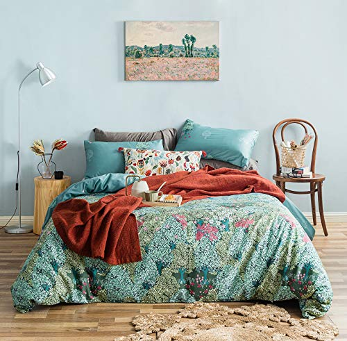 YuHeGuoJi 3 Pieces Duvet Cover Set 100% Egyptian Cotton King Size Green Leaves Bedding Set 1 Botanical Forest Floral Print Duvet Cover with Zipper 2 Pillowcases Luxury Quality Silky Soft Comfortable