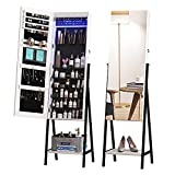 LVSOMT 6 LEDs Freestanding Jewelry Armoire with Full-Length Floor Standing Mirror, Lockable Storage Cabinet, Dressing Body Mirror, Large Capacity Organizer with Cosmetic Bags, Trays, Shelves (White)