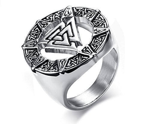 Vnox Anello in acciaio inox Valknot Nordic Rune Hrungnir nodo Viking Signet Nozze Band Anello Peltro