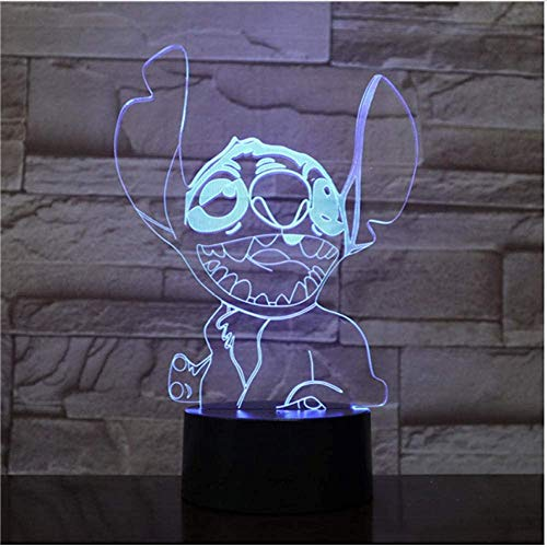 3D Illusie Nachtlampje Thuis Moet Cartoon 3D Lamp Stitch Elsa Illusie Kinderen Nachtlampje LED Lampje Touch Senor Multi kleuren Kerstmis Gift Holiday Gift