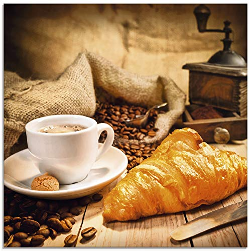 Artland Glasbilder Wandbild Glas Bild einteilig 20x20 cm Quadratisch Kaffee Coffee Cafe Kaffeetasse Kaffeebohnen Croissant Frühstück Rösterei S6BT