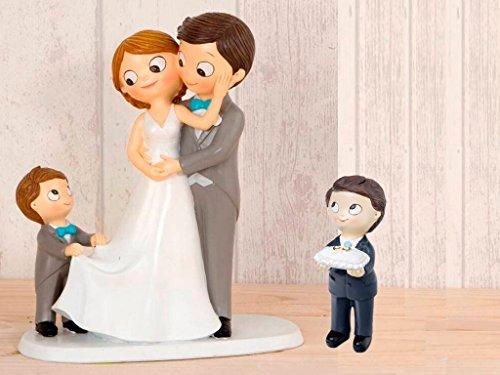 Momparler1870 Tortenfigur Brautpaar mit Junge mit Hochzeitsschwanz, Kind mit Ringen