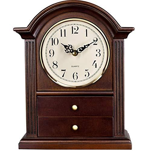 ZGP % Reloj clásico Tabla Retro del Reloj de Tabla de la Sala cajón de la Mesa Reloj Reloj Europea Silencio decoración Creativa del Reloj de Madera Maciza Casa