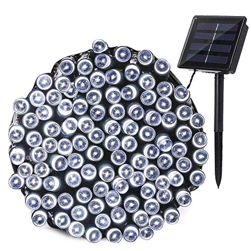 Qedertek Outdoor Solar String Lights, 72ft 200 LED Solar Fairy Lights, Waterproof 8 Modes Solar Powered String Lights for Garden, Fence, Balcony, Patio, Lawn, Gazebo, Bistro, Party Decorations (White)