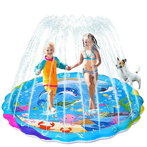 iBaseToy Splash Pad, 170cm Sprinkler Kinder Play Matte, Wasserspielmatte Splash Play Matte, Sommer Garten Wasserspielzeug Wassersprinkler für Kinder Baby