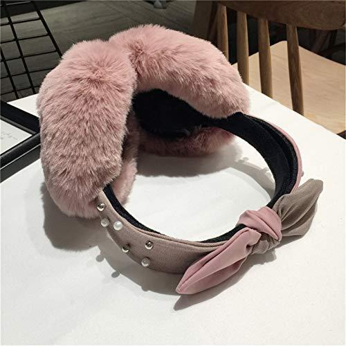 WANGYIYI Niedliche Ohrenschützer Frauen Lustige Winter Ohrenschützer Stirnband Bogen Perlenwärmer Plüsch Party Ohr Wärmer Haut Protector Kopfhörer Ohrmütze (Color : Pink)