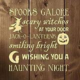 Calcomanía de vinilo para pared Ceciliapator para decoración de Halloween con poema de brujas, linternas Jack, truco o golosinas - Divertidas decoraciones de Halloween para el hogar,