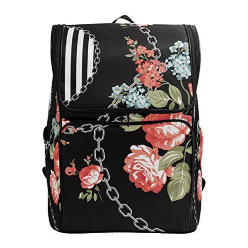 LISNIANY Rucksack,Blumen Muster Textiltapete füllt Abdeckungen,Computertasche,Schultasche,große Kapazität